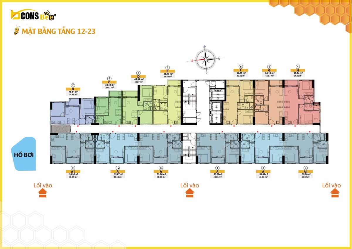 mặt bằng căn hộ bcons bee tầng 12-23