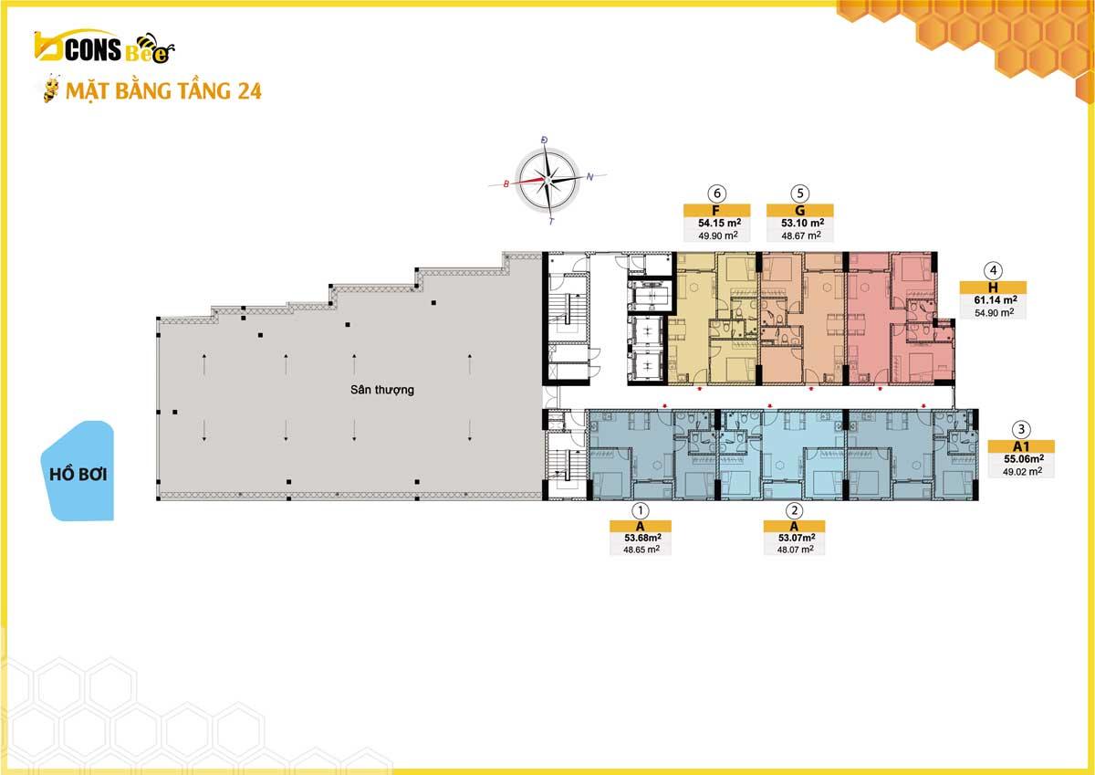 mặt bằng căn hộ bcons bee tầng 24