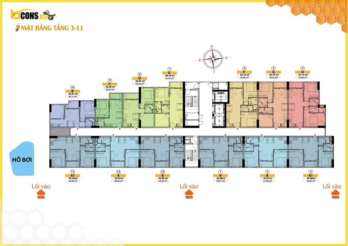 mặt bằng căn hộ bcons bee tầng 3-11