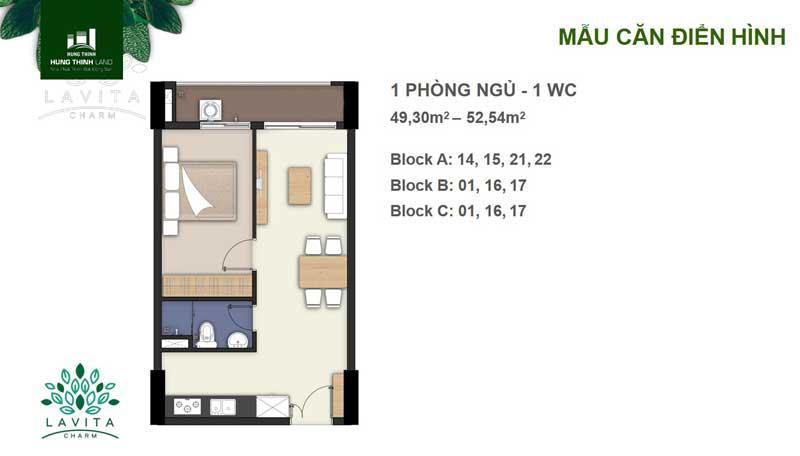 thiết kế căn 1 phòng ngủ lavita charm thủ đức