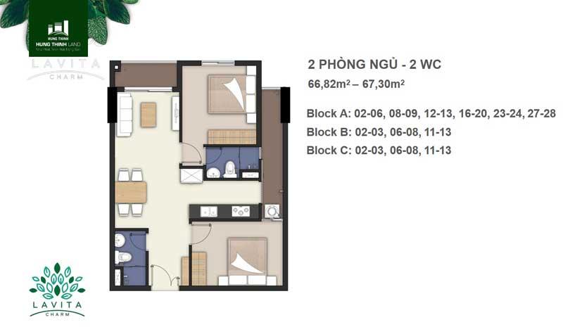 thiết kế căn hộ 2 phòng ngủ lavita charm thủ đức