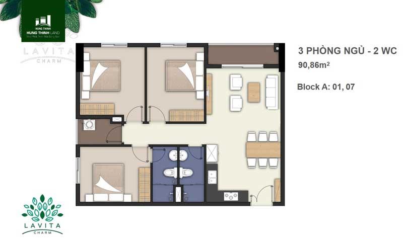 thiết kế căn hộ 3 phòng ngủ lavita charm thủ đức