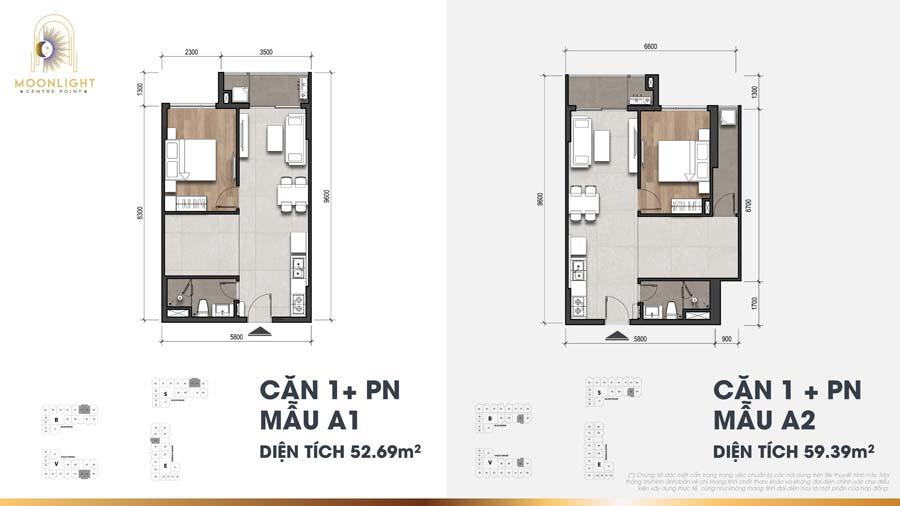 Thiết kế căn hộ 1 phòng ngủ Moonlight Centre Point