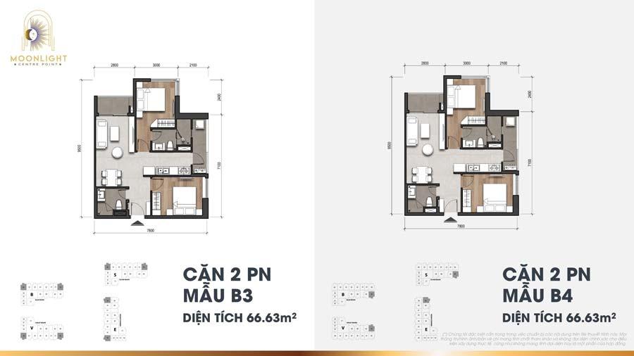 Thiết kế căn hộ 2 phòng ngủ Moonlight Centre Point