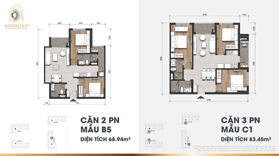 Thiết kế căn 3 phòng ngủ Moonlight Centre point