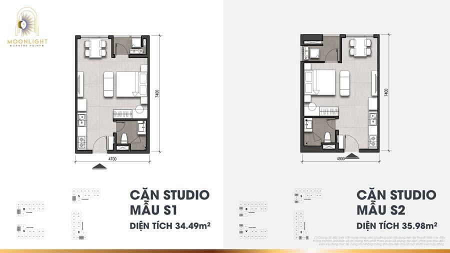 Thiết kế căn studio Moonlight Centre Point